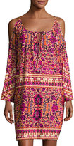 Neiman Marcus Cold-Shoulder Graphic-Print Shift Dress, Multi Pattern