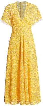 Lela Rose Floral-Embroidered Midi Dress