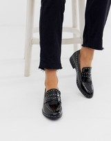 Glamorous black studded loafers
