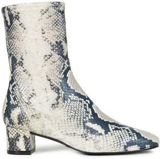 Stuart Weitzman Ernestine Snake-print Leather And Neoprene Ankle Boots