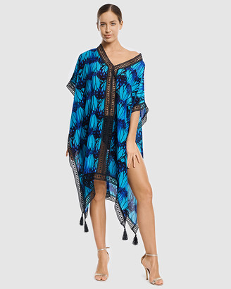 Aqua Blu Australia - Women's Blue Kaftan & Beach Dresses - Euphoria Kaftan - Size One Size, S at The Iconic