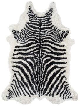 "Novogratz Khalhari Hand-Tufted Faux Fur Black Area Rug Rug Size: Rectangle 3'6"" x 5'6"""