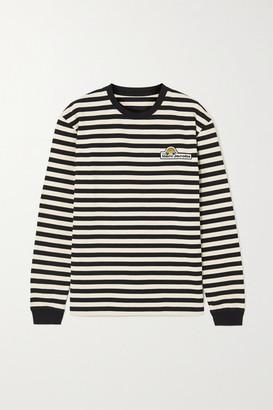 Marc Jacobs Appliqued Striped Cotton-jersey Top - Black