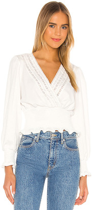 1 STATE Crinkle Knit Smocked Waist Top