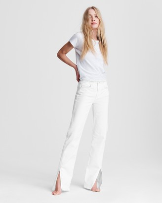 Rag & Bone Low rise cut-off flare - white