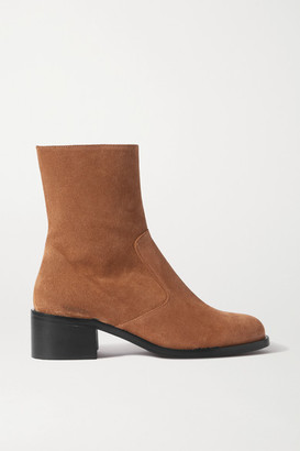 BY FAR Lara Suede Ankle Boots - Brown