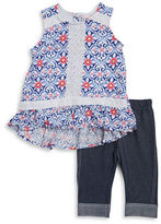 Little Lass Girls 2-6x Little Girls Floral Tunic and Leggings Set