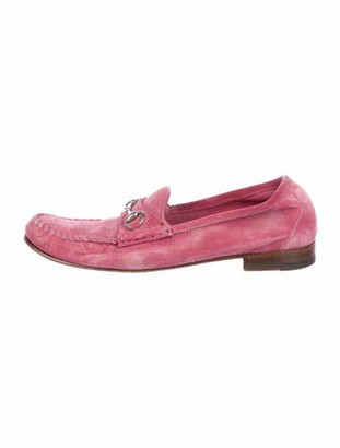 Gucci Horsebit Accent Suede Loafers Pink