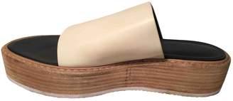 Tibi White Leather Sandals