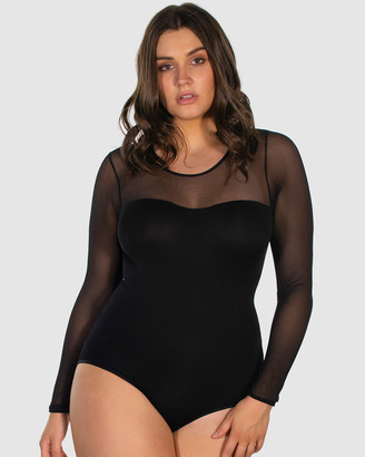 B Free Intimate Apparel - Women's Black Bodysuits - Curvy Mesh Sweetheart Neckline Long Sleeve Bodysuit - Size One Size, S/M at The Iconic