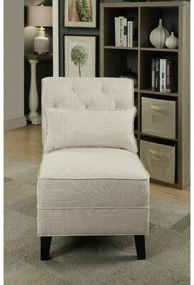 """Thumbnail for your product : Alcott Hill Hysley 23.25"""" Wide Tufted Linen Slipper Chair Fabric: Cream"""