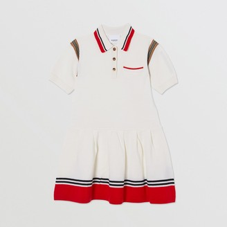 Burberry Childrens Striped Cotton Merino Wool Polo Shirt Dress