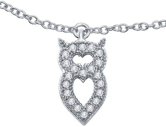 Lafonn Platinum Plated Sterling Silver Simulated Diamond Owl Anklet
