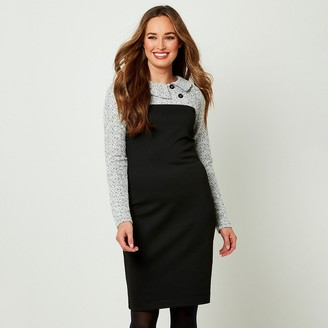 Joe Browns Buttoned-Collar Bodycon Dress with Long Sleeves