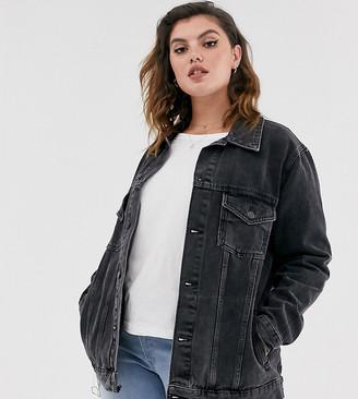 New Look Plus Curve oversized acid wash denim jacket in black