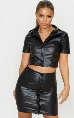 PrettyLittleThing Petite Black PU Button Up Shirt
