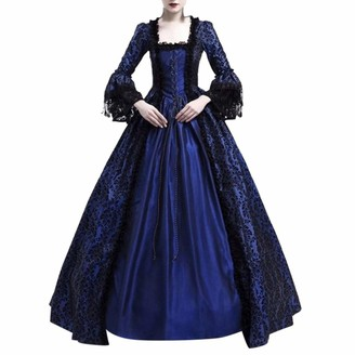 KPILP Women Dress Square Collar Patchwork Retro Medieval Party Princess Renaissance Cosplay Lace Floor Length Dress Queen(Navy UK-16/CN-2XL)