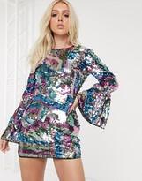 Asos Design DESIGN long sleeve sequin embellished mini dress with open back