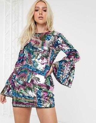 ASOS DESIGN long sleeve sequin embellished mini dress with open back