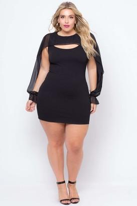 Curvy Sense Chiffon Cape Overlay Dress in Black Size 1X