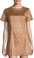 Glamorous Faux Suede A-Line Dress with Grommet Trim, Tan