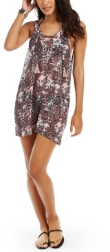 Miken Juniors' Python Printed Lace-Up Cover-Up Dress, Created For Macy's Women's Swimsuit