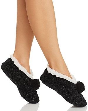 Cejoli Cable Knit Chenille Pom-Pom Slippers