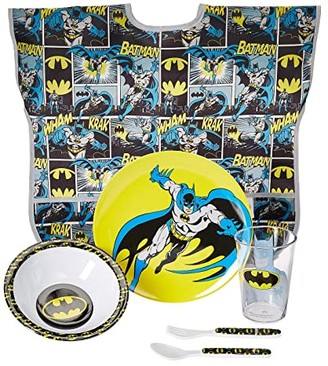 Bumkins DC Comics Batman Five-Piece Melamine Set w/ Bib (Batman) Accessories Travel