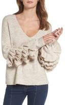 BP Women's Ruffle Sleeve V-Neck Sweater