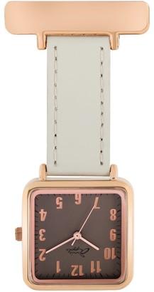 Bermuda Watch Company Annie Apple Square Rose Gold Grey Leather Nurse Fob Watch