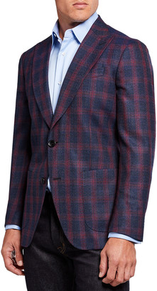 Etro Men's Blurred Plaid Wool Suit Jacket
