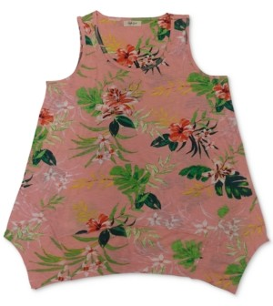 Style&Co. Style & Co Petite Floral-Print Handkerchief-Hem Tank Top, Created for Macy's