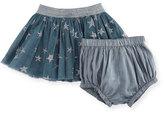 Stella McCartney Honey Glittered Star-Print Tulle Skirt w/ Bloomers, Size 12-36 Months