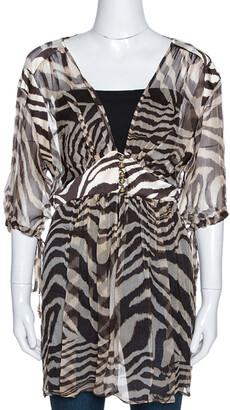Roberto Cavalli Brown Animal Print Silk Sheer Kaftan Top L