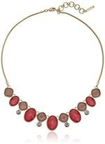"Nine West Coral Glow"" Gold-Tone Coral Frontal Necklace, 16"" + 2"" Extender"