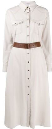 Brunello Cucinelli Contrast Stitching Shirt Dress