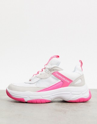 Calvin Klein Maya chunky trainers in pink mix