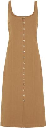 ST. AGNI Ghita Cotton-Linen Button-Front Midi Dress