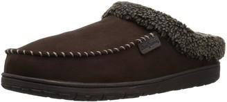 Dearfoams Men's Microsuede Moc Toe Clog with Berber Cuff Slipper