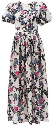 La DoubleJ Persephone Floral-print Silk Maxi Dress - White Print