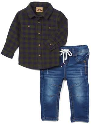 Little Gent Boys' Denim Pants and Jeans GREEN - Green Plaid Button-Up & Blue Straight-Leg Jeans - Infant