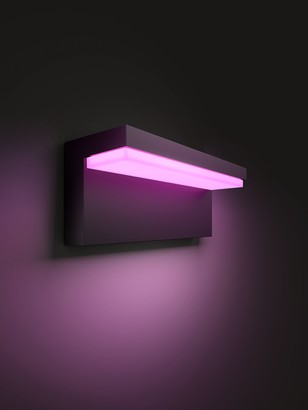 Philips Hue White and Colour Ambiance Nyro LED Outdoor Wall Light, Black