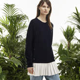 Lacoste Women's Fashion Show Crew Neck Ribbed Pleated Bicolor Sweater