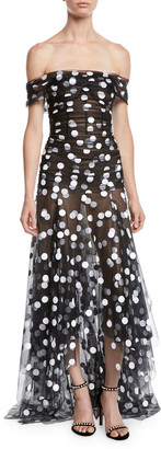 Oscar de la Renta Off-the-Shoulder Polka-Dot Tulle Evening Gown