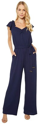 MICHAEL Michael Kors V-Neck Flutter Sleeve Jumpsuit (True Navy) Women's Jumpsuit & Rompers One Piece
