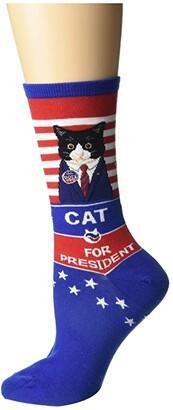 Socksmith Cat For President (Blue) Women's Crew Cut Socks Shoes