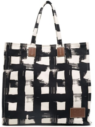 Bally Painted Check Pattern Tote