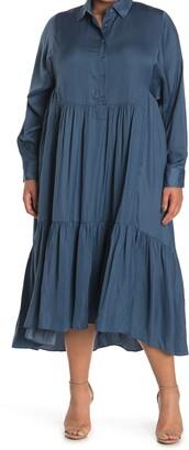 Taylor Satin Tiered Shirt Dress
