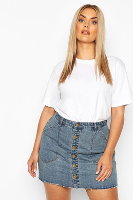 boohoo Plus Pocket Detail Vintage Look Denim Skirt
