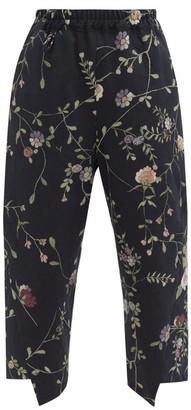 By Walid Artem Floral-jacquard Cotton-canvas Trousers - Black Multi